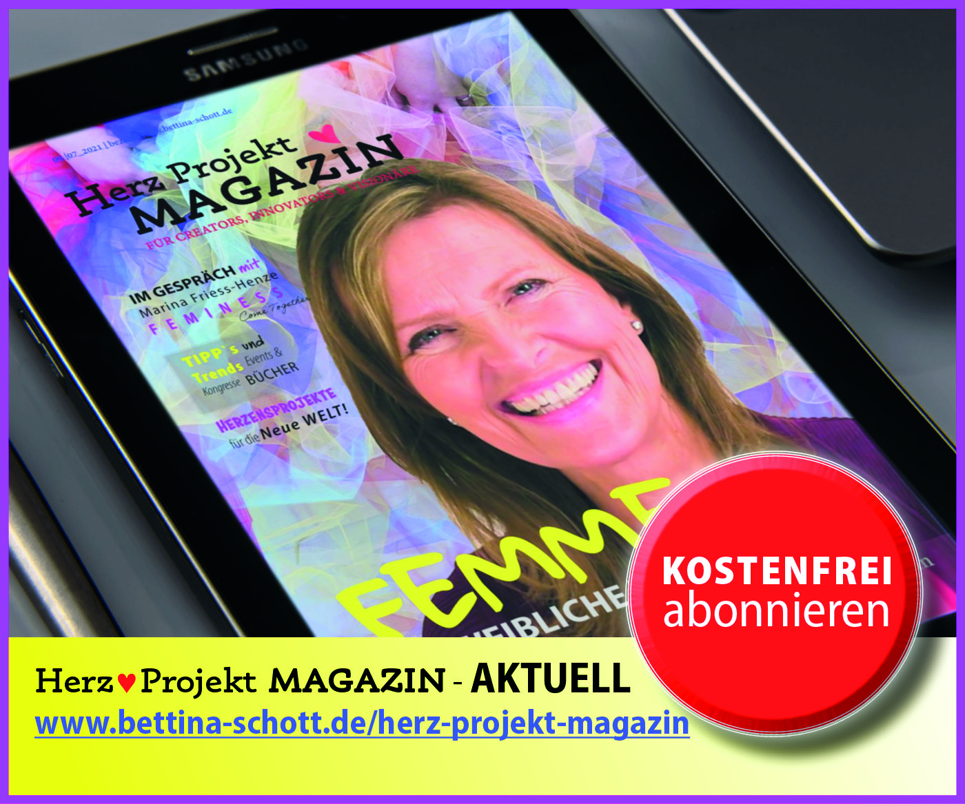 FEMME Die weibliche Kraft #9. Ausgabe des Herz Projekt Magazins mit Bettina Schott